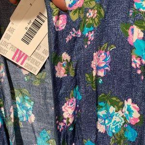 NWT LulaRoe Joy Vest Medium Denim Color Floral